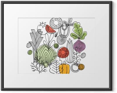 Gerahmtes Poster Gemüse runde Zusammensetzung. lineare Grafik. Gemüse Hintergrund. skandinavischer Stil. gesundes Essen. Vektor-Illustration