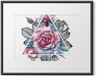 Poster en cadre Vignette rose aquarelle
