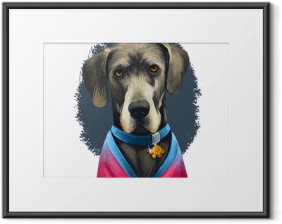 Stor dansker, deutsche dogge, tysk mastiff hund digital kunst illustration isoleret på hvid baggrund. tyskland oprindelse arbejder, vogter hund. pet håndtegnet portræt. grafisk tegneserie design Indrammet plakat