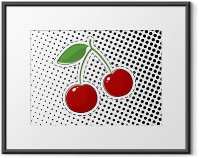 Innrammet plakat Rød kirsebær klistremerke på hvit bakgrunn med svarte prikker, pop art halvton bakgrunn, pins eller patcher, retro stil, vektorillustrasjon