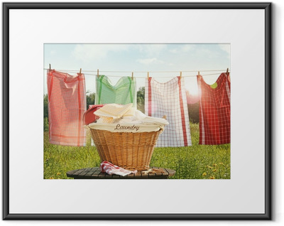 Cotton towels drying on the clothesline Framed Poster