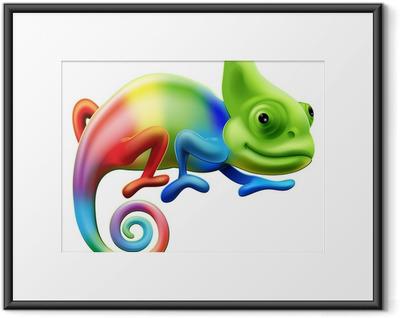 Plakat w ramie Rainbow kameleon