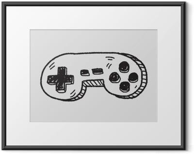 Gerahmtes Poster Doodle-Spiel-Controller