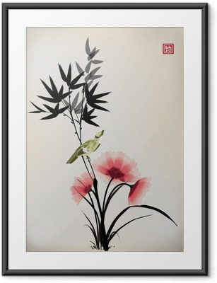 Chinese ink style flower bird drawing Framed Poster