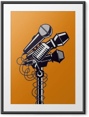 Innrammet plakat Musikk plakat med mikrofoner.