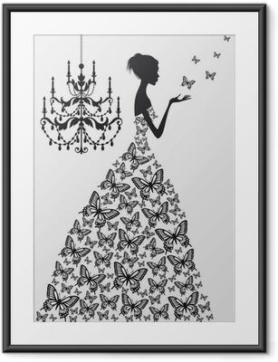 Poster En Cadre Femme Avec Des Papillons Vecteur