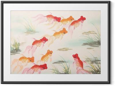 Poster en cadre Peinture poisson rouge chinois