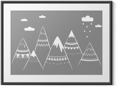 Bjerg kids, håndtegnede vektor illustration Indrammet plakat