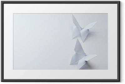 Ingelijste Poster Origami vlinders op witte achtergrond
