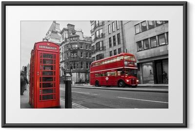 Ingelijste Poster Telefooncel en rode bus in Londen (UK)