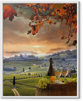 Fotografia com Moldura White wine with barell in vineyard, Chianti, Tuscany, Italy
