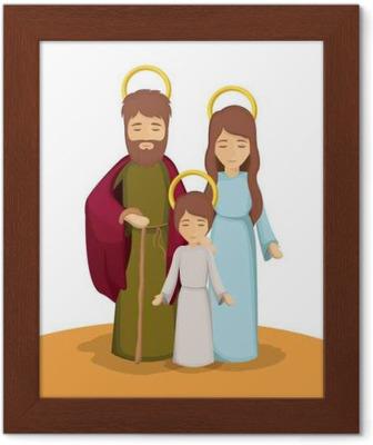 Maria Jose Y Jesus Icono De Dibujos Animados Sagrada Familia Y El Tema De La Temporada De Navidad Feliz El Diseno Colorido Ilustracion Vectorial