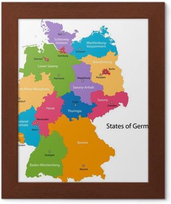 Farverige Tyskland Kort Med Regioner Og Storste Byer Pixerstick
