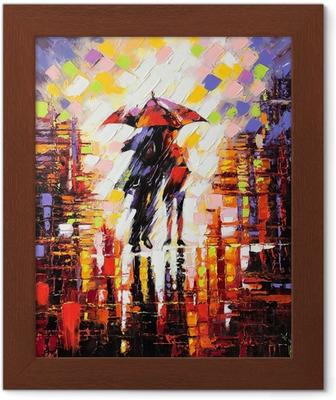 Çerçeveli Baskı Bir şemsiye altında aşık iki