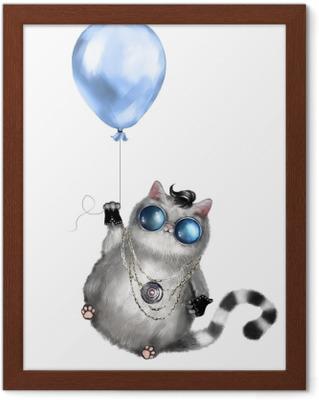1406afb6f allison janney oscar speech Illustrasjon av en søt katt i rocker stil, med  runde briller og smykker. katt som flyr på en blå ballong. isolert på ...