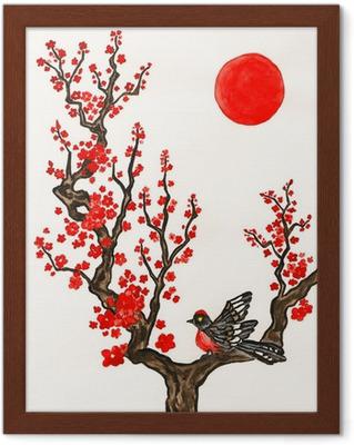 Kırmızı çiçekler Dalda Kuş Boyama Poster Pixers Haydi