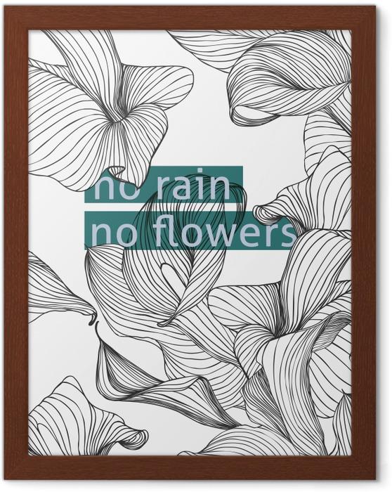Obrazek w ramie No rain, no flowers - Motywacyjne