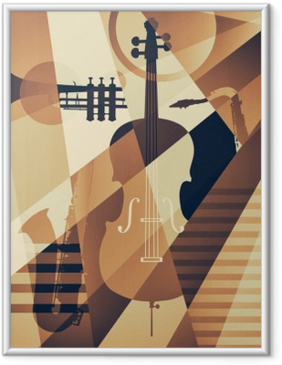 Abstract Jazz poster, music background Framed Picture