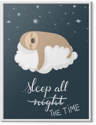 Obrazek w ramie Plakat lenistwo spania