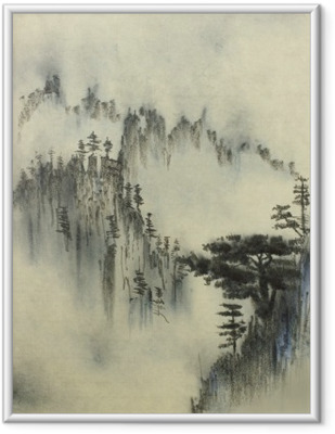 Mountain pine and fog Framed Picture