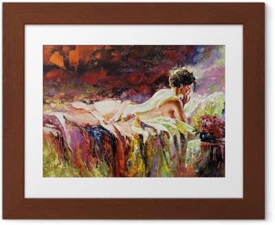Obrazek w ramie Naga dziewczyna leży na łóżku