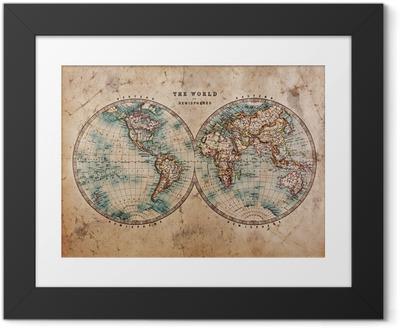 Ingelijste Afbeelding Oude Kaart van de Wereld in Hemisferen