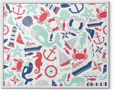 Ingelijste Afbeelding Naadloze patroon met zee iconen