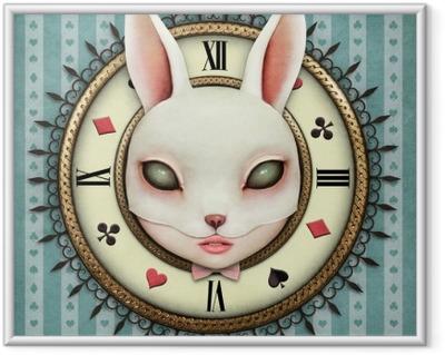 Image encadrée Illustration fantastique avec une montre de poche au pays des merveilles et tête masque lapin fille