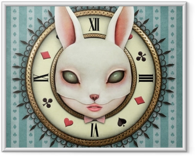 Immagine in Cornice Illustrazione di fantasia con un orologio da taschino paese delle meraviglie e testa maschera coniglietta
