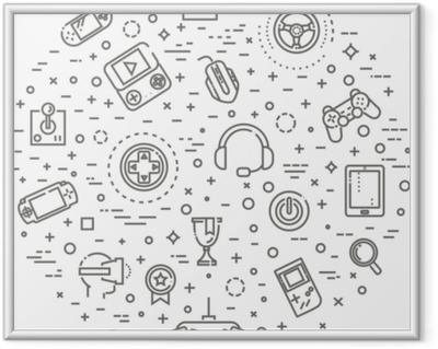 Lámina Enmarcada Iconos de videojuegos, diseño de línea simple y delgada.