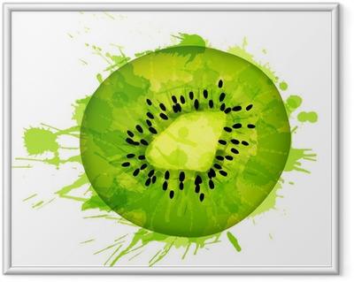 Immagine in Cornice Fetta di frutta Kiwi fatto di spruzzi colorati su sfondo bianco