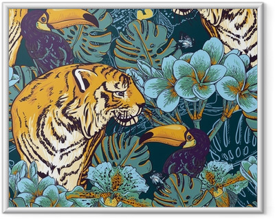 Fotografia com Moldura Tropical floral seamless background with Tiger