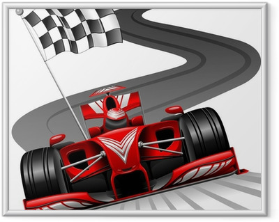 Immagine in Cornice Formula 1 Red Car on Race Track