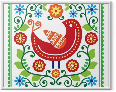 Immagine in Cornice Vettore modello Folk artigianato con uccelli e fiori