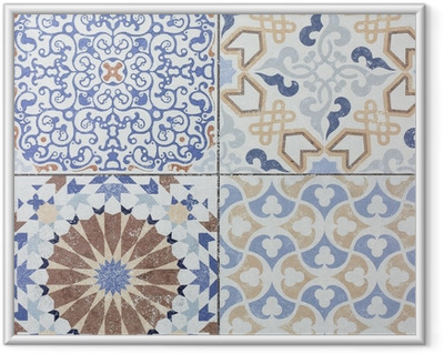 Beautiful old ceramic tile wall patterns in the park public. Framed Picture