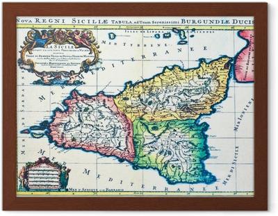 Kort Over Sicilien Italien Til Et Firkantet Farvet Ikon Plakat