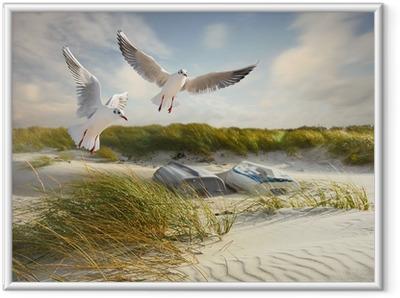 Image encadrée Mouettes, des dunes et des bateaux de pêche