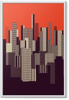 Bild i Ram En tre färger grafisk abstrakt stadslandskapet affisch i orange och brunt