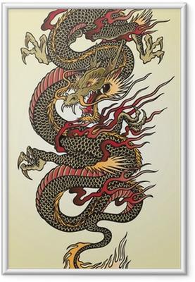 Obrazek w ramie Szczegółowa ilustracja azjatycki tatuaż smoka