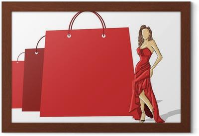 Ostoskassit ja kaunis nainen punaisessa mekossa Kangaskuva