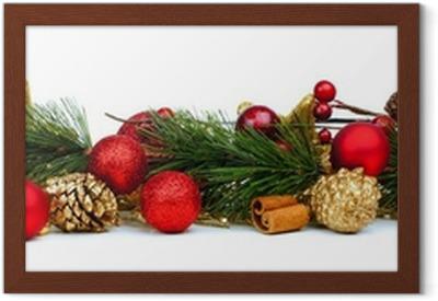 Fotobehang Kerst Rand Van Takken Dennenappels En Rode Kerstballen