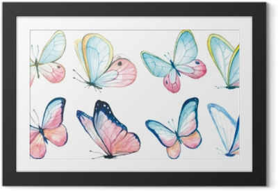 Gerahmtes Bild Sammlung Aquarell von fliegenden Schmetterlingen.