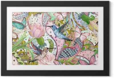Ingelijste Afbeelding Mode naadloze textuur met etnische floral ornament en kolibries. aquarel schilderij