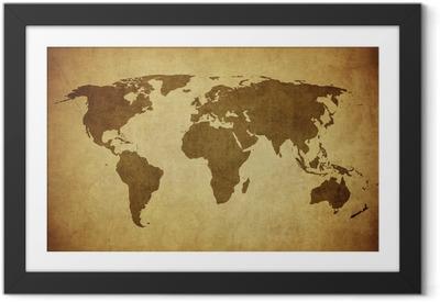 Immagine in Cornice Vintage mappa del mondo