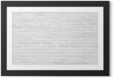 Lámina Enmarcada Grunge pared de ladrillo blanco textura de fondo