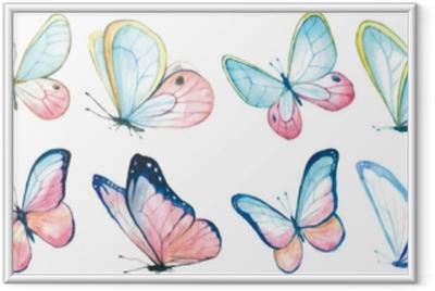 Image encadrée Aquarelle de collection de papillons volants.