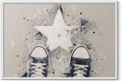 Image encadrée Jeune sur la route avec empreinte de forme d'étoile