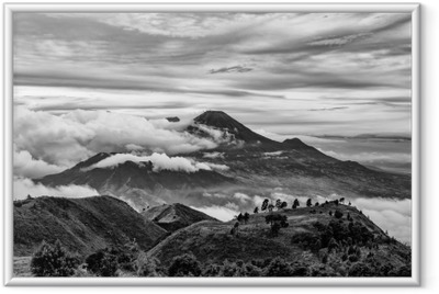 Mount Merapi and Merbabu in the background taken from mount Prau, Jogjakarta, Indonesia in black and white. Framed Picture