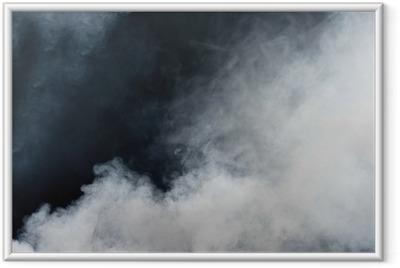 Ingelijste Afbeelding Witte rook op zwarte achtergrond. Geïsoleerd.