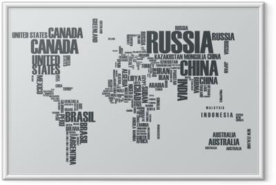 Ingelijste Afbeelding Wereldkaart: de contouren van het land bestaat uit de woorden